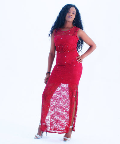 A Sexy Red Rhinestone Sheer Mesh Maxi Dress - SkinDeepExperience