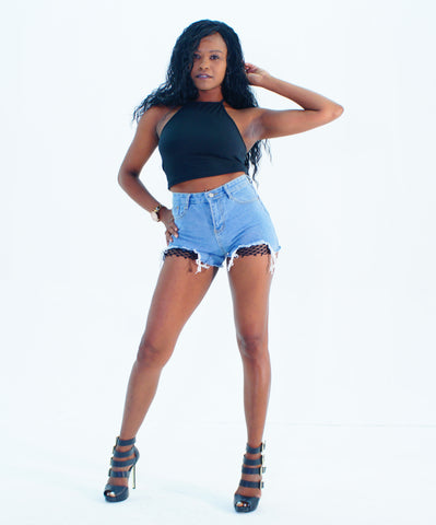 A Darling Black Halter Crop Top - SkinDeepExperience