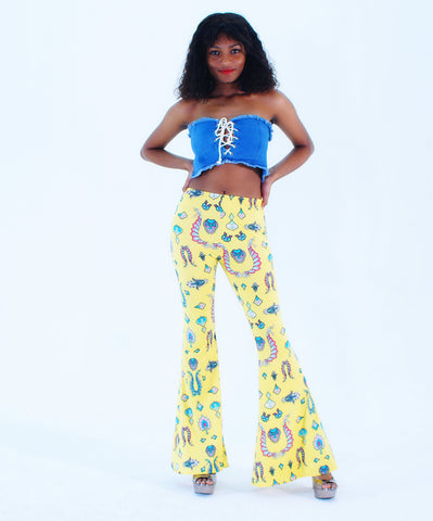A Decorative Yellow High Waist Bell Bottom Palazzo Pants - SkinDeepExperience