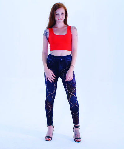 A Cute Jeans Blue Design Leggings - SkinDeepExperience