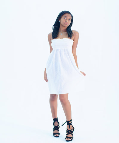 A Charming White Strapless Tube Top Dress - SkinDeepExperience