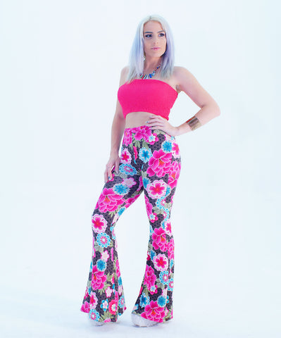 A Flower Design High Waist Bell Bottom Palazzo Pants - SkinDeepExperience