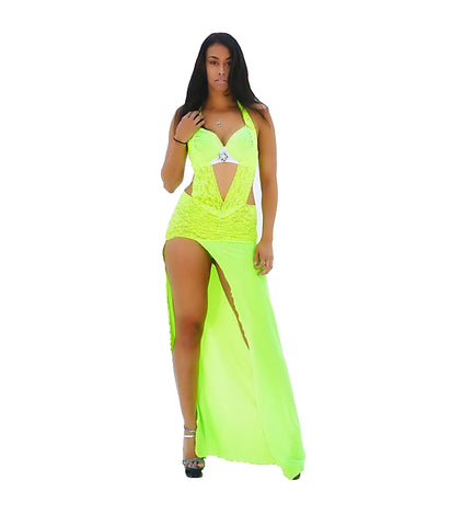 A Stunning Neon Green & White Velvet Lace Rhinestone Party Dress - SkinDeepExperience