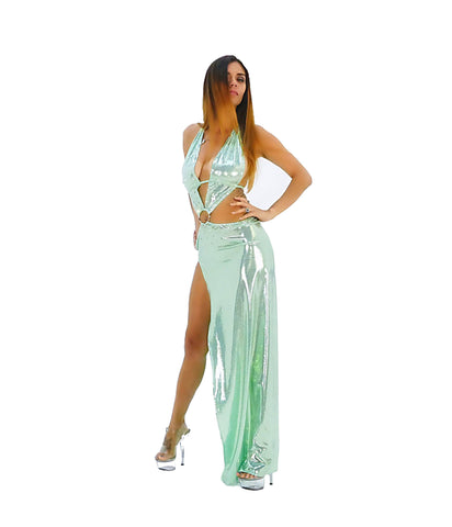 An Exotic Olive Green Rhinestone Side Split Party Dress - SkinDeepExperience