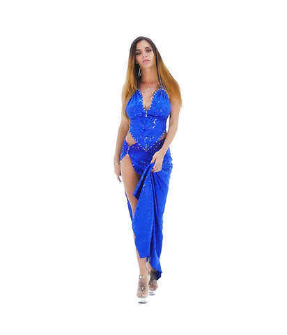 An Exotic Blue Side Split Lace Rhinestone Party Dress - SkinDeepExperience