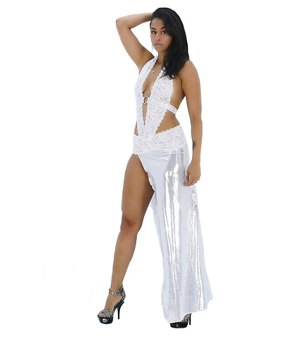 A Seductive Silver & White Lace Rhinestone Party Dress - SkinDeepExperience