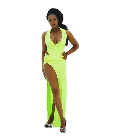 A Captivating Neon Green Side Split Lace Rhinestone Party Dress - SkinDeepExperience