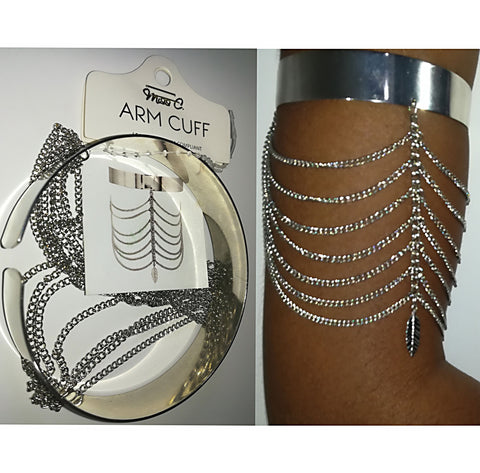A Trendsetting Silver Leaf Cascade Upper Arm Cuff - SkinDeepExperience