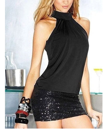 A Glamorous Black High Neck Cocktail Mini Dress - SkinDeepExperience