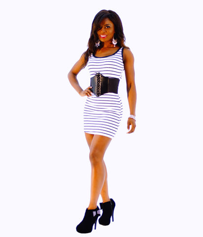 A Cute Black & White Stripe Mini Dress - SkinDeepExperience