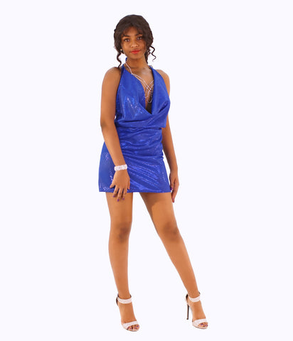 A Classy Royal Blue Shimmering Low Hanging Halter Neck Mini Dress - SkinDeepExperience