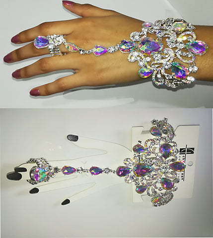A Glamorous Silver Crystal Chandelier Styled Hand Ring Chain Bracelet - SkinDeepExperience
