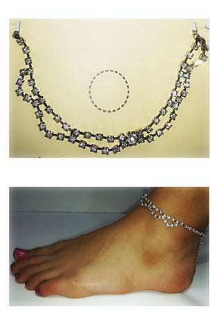 A Stylish Double Chain Rhinestone Anklet - SkinDeepExperience