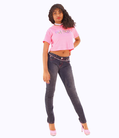 A Pair Of Trendy Pink Accented Skinny Jeans - SkinDeepExperience