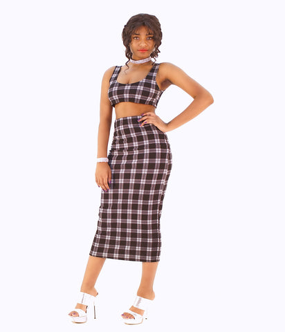 A Timeless Plaid Two Piece Form Fitting Pencil Skirt Set - SkinDeepExperience