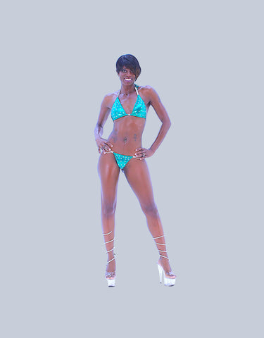 An Eye Popping Green Custom Competition Fitness Bikini - SkinDeepExperience