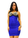 A Sexy Blue & Black Spiked Bra Top Mini Dress - SkinDeepExperience