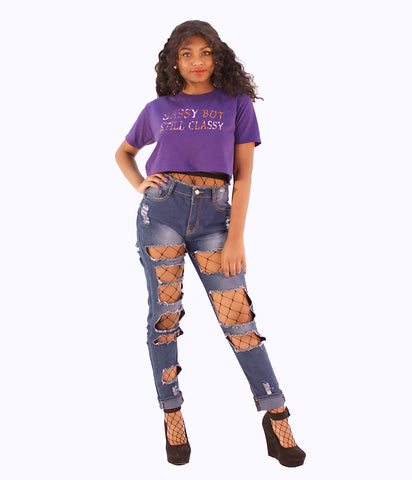 A Trendy Pair Of Distress Cut-Out Blue Jeans - SkinDeepExperience