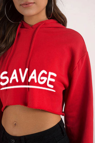 Savage...Sexy Crop Hooded Sweater - SkinDeepExperience