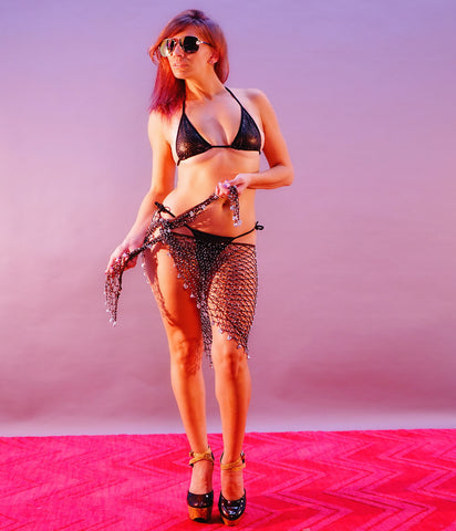 A Foxy Brown Beaded Net Sarong Crochet Cover Up - SkinDeepExperience