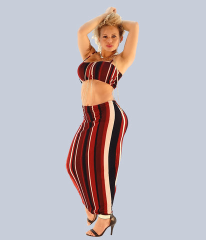 A Stunning Stripe Matching Crop Top & Pencil Skirt Set - SkinDeepExperience