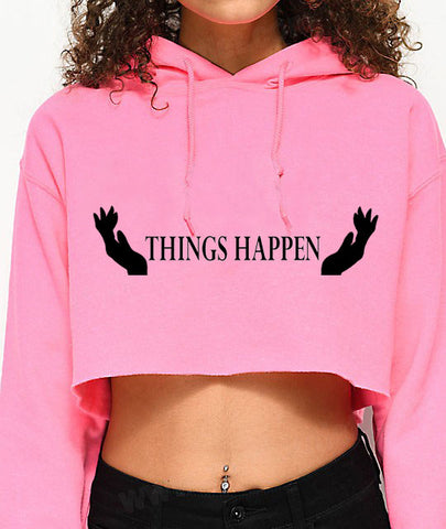 Things Happen...Sexy Crop Hooded Sweater - SkinDeepExperience