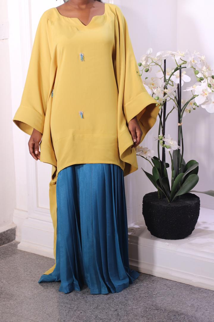 Mustard Embellished BouBou with Chiffon