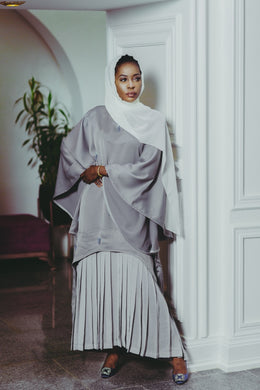 Grey Pleated Embellished BouBou