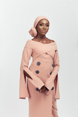 Dusty Pink Button Dress