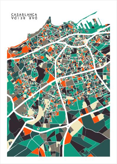 """Casablanca Map"" by G.M - Canva"