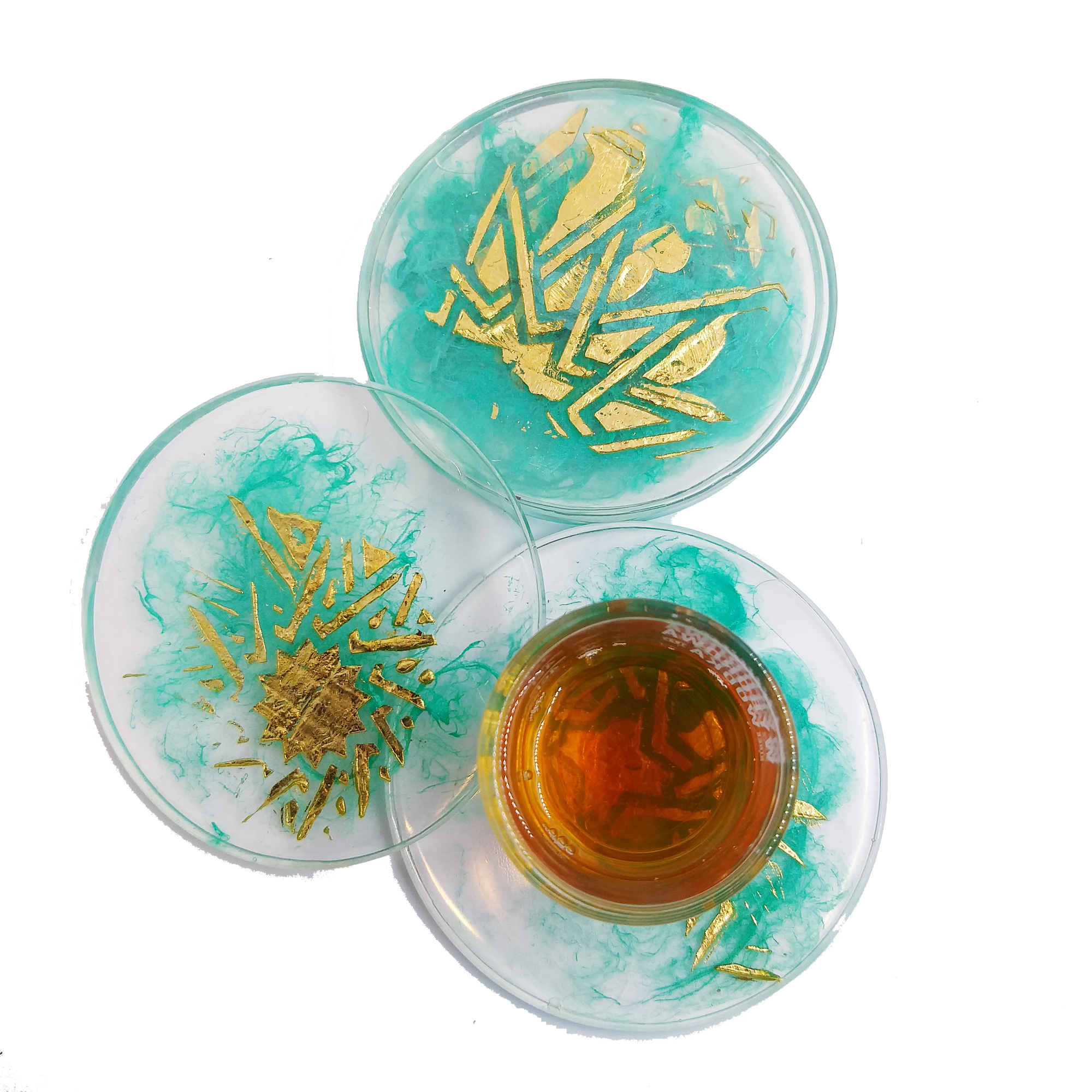 Aqua and Gold Resin Coasters