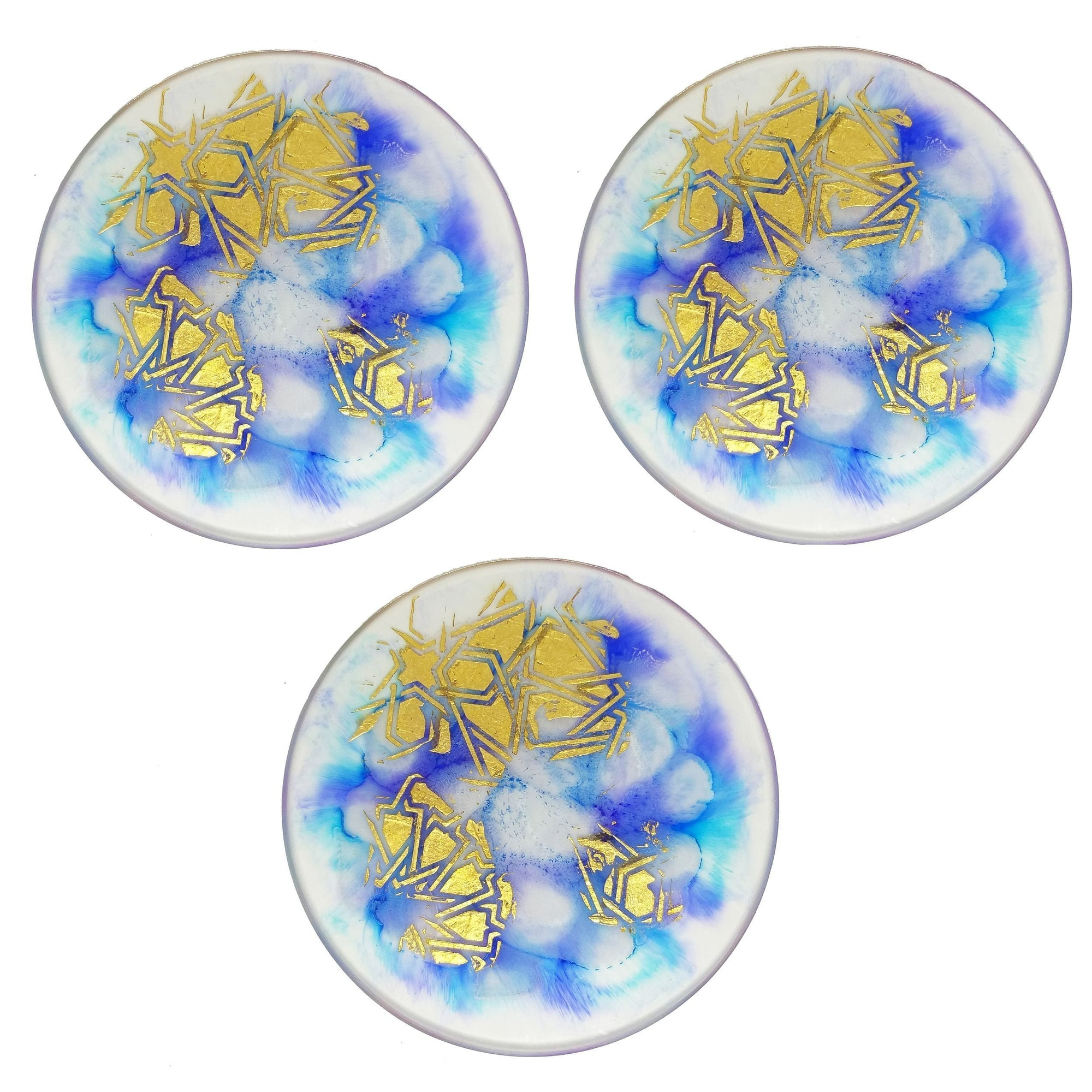 Blue and Gold Resin Coasters