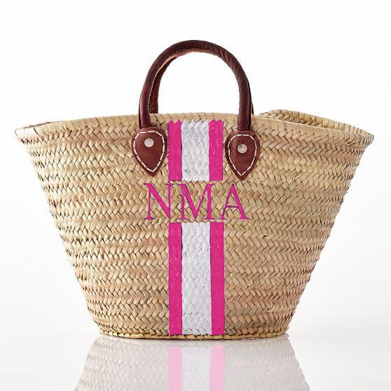 Beach Wicker Monogram Basket with Customizable Initials