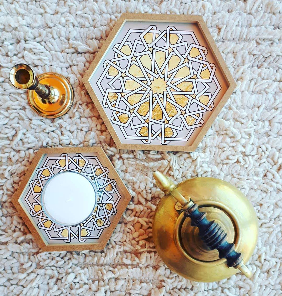 Set of 2 Hexagonal Nested Trays with Arabic Patterns