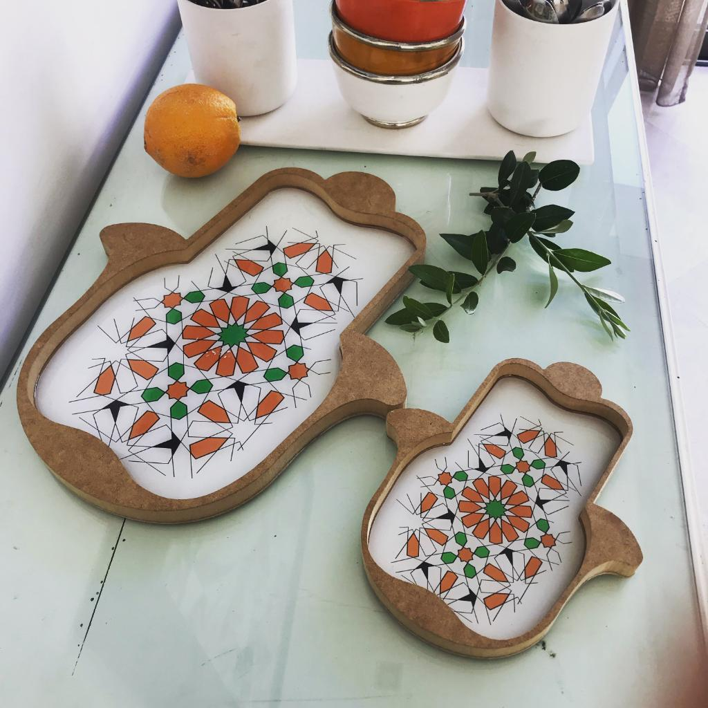 Set of 2 Serving Trays Hand Shaped HAMSA