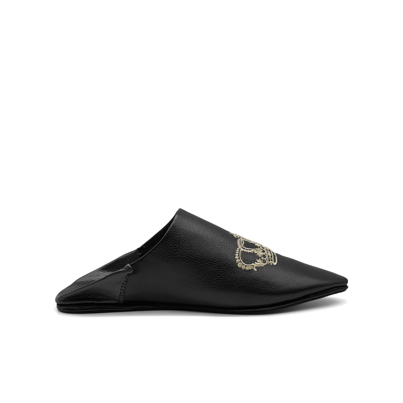 BOOSH ROYALE BLACK Leather Moroccan Slippers