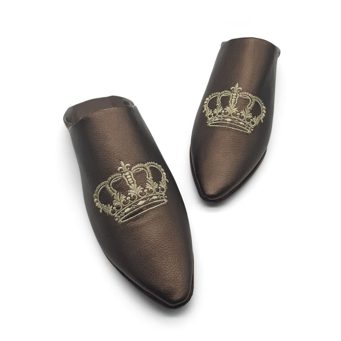BOOSH ROYALE MOCHA Leather Moroccan Slippers