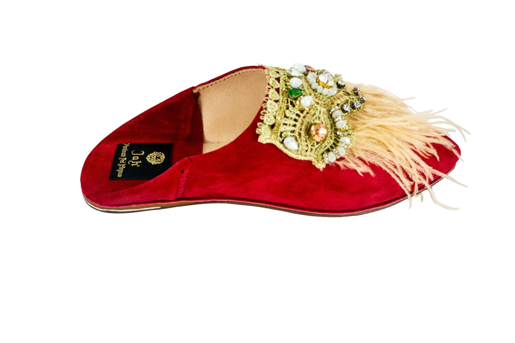 Women Moroccan Slipper in Suede with Feathers
