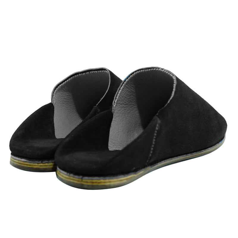 Men Moroccan Slipper in Black Suede