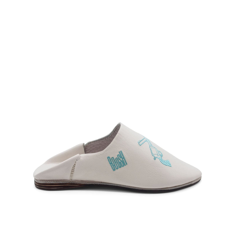 GEORGE BOOSH WHITE Leather Moroccan Slippers