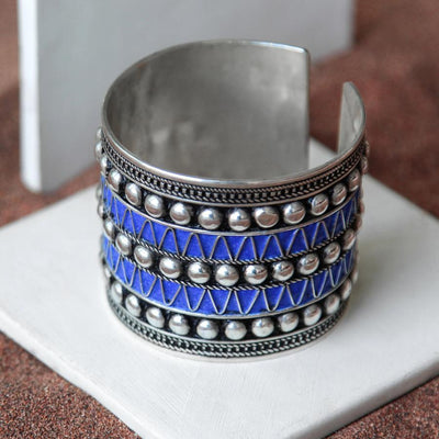 Cuff Bracelet with Deep Blue Studs