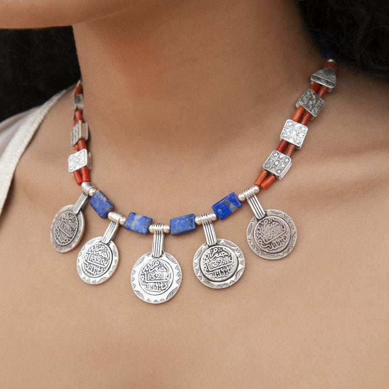 Blue Coral Coins Necklace