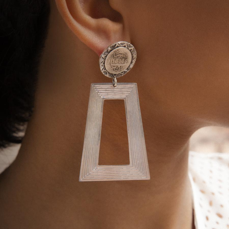 Trapezoid Coins Earrings
