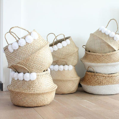 Moroccan Woven Wicker Belly Basket for Storage Plant Pot Basket and Laundry