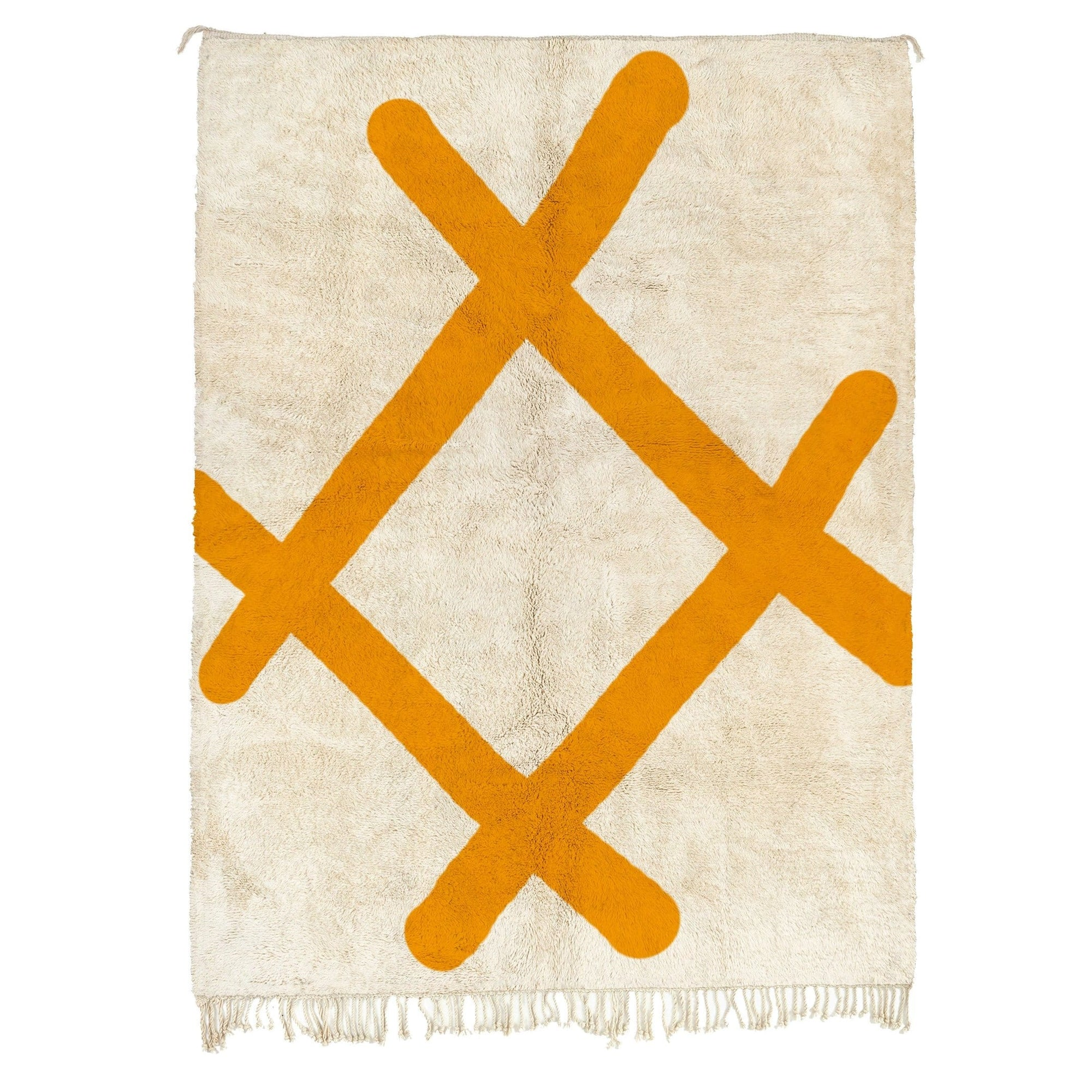 Abstract Orange Modern Beni Ourain Rug