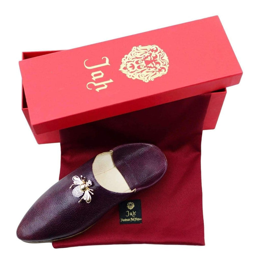 Bordeaux Women's Leather Slipper with Bee Ornament - MyTindy