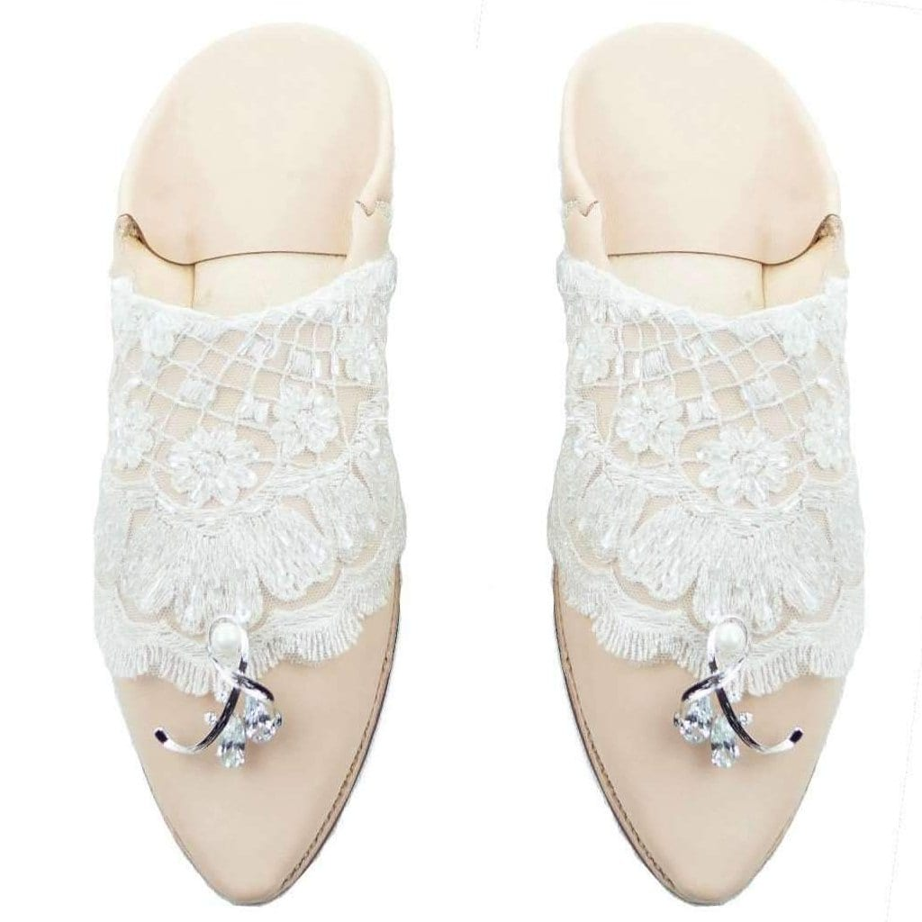 "Women's ""Night of Night"" leather slippers in Pale Pink Leather with Lace - MyTindy"