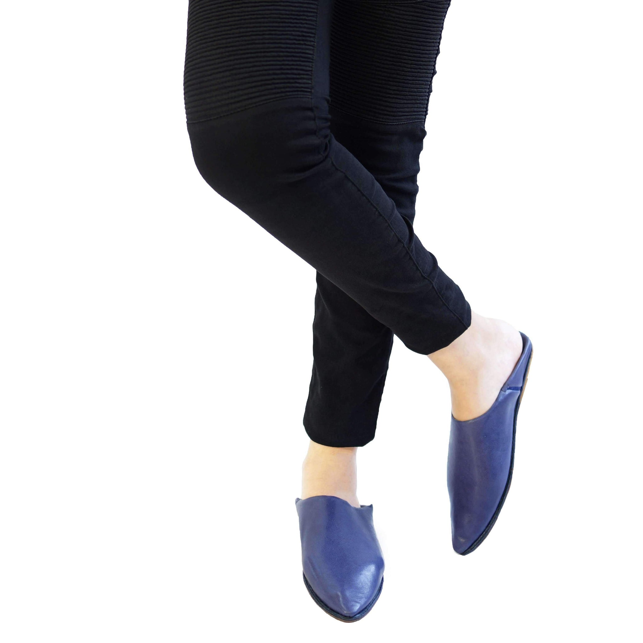Women Moroccan Slipper in Navy Blue