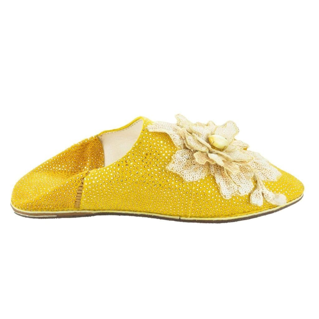 Women Moroccan Slipper with Yellow Flower