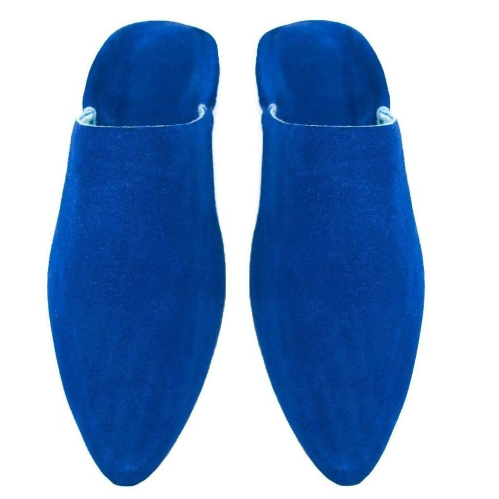 Men Moroccan Slipper in Suede Majorelle Blue